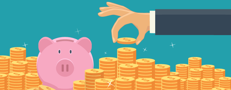 Graphic of man putting money into a piggy-bank